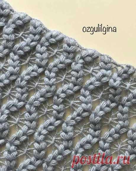 Узор Косички и Паучки для палантина/шарфа | Вязание крючком от Елены Кожухарь