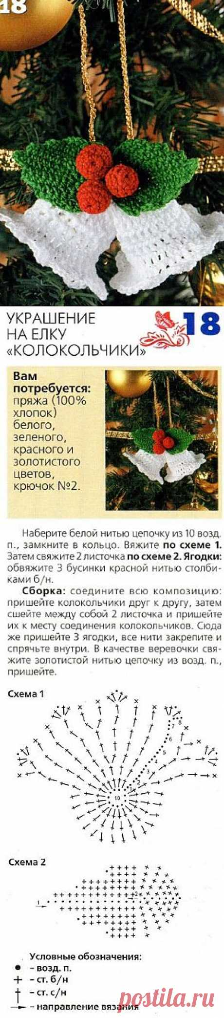 Hand bell on a fir-tree a hook \/ New Year's gifts, hand-made articles and suits \/ PassionForum - master classes in needlework