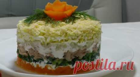 Салат Мимоза по классическому рецепту с консервой и сыром