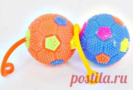 Мячи ежики для детей Футбол на резинке со светом и звуком оптом