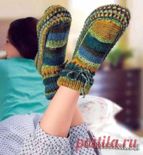 Носки-тапочки спицами - как связать носки своими руками описание