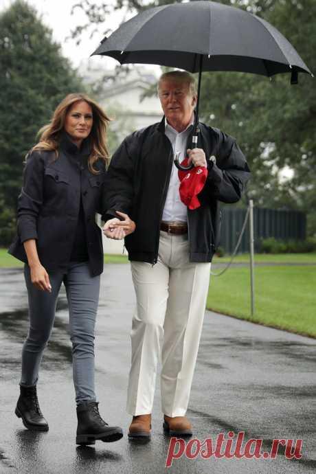6 брендов джинсов с идеальной посадкой Мелания Трамп в черных ботинках Timberland и джинсах скинни