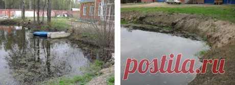 Укрепление берегов лиственницей частного водоема Московской области