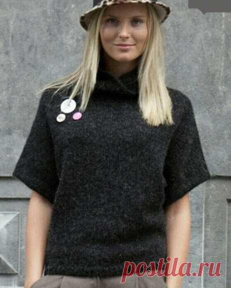 Сдержанный свитер-безрукавка оверсайз. Спицами.  Размеры: 34/36, 38/40, 42/44, 46/48, 50/52. / knittingideas.ru