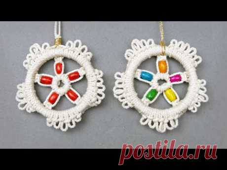 ROUND FLORAL MACRAMÉ ORNAMENT NEW DESIGN TUTORIAL