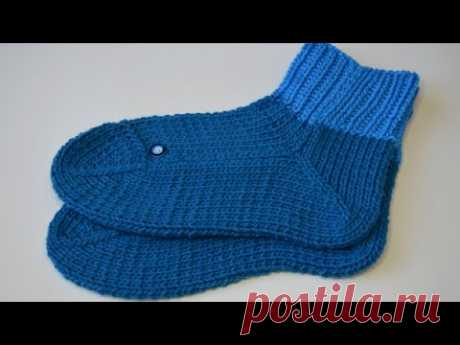 Мужские носки для дома вместо тапочек / двумя спицами без швов