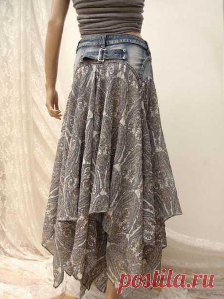 Варианты переделки джинсов в юбки