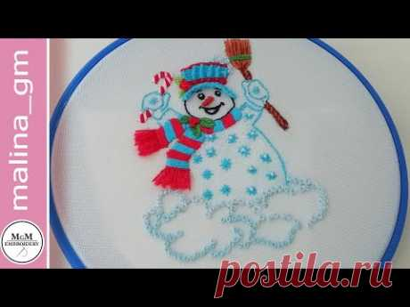 How to embroider a snowman * New Year's embroidery #malina_gm