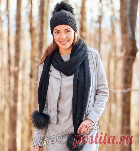Черная вязаная шапка и шарф с косами - Хитсовет