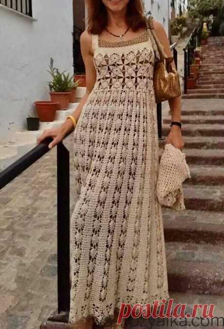 Вязаное длинное платье крючком со схемами. Вязаные платья крючком для взрослых