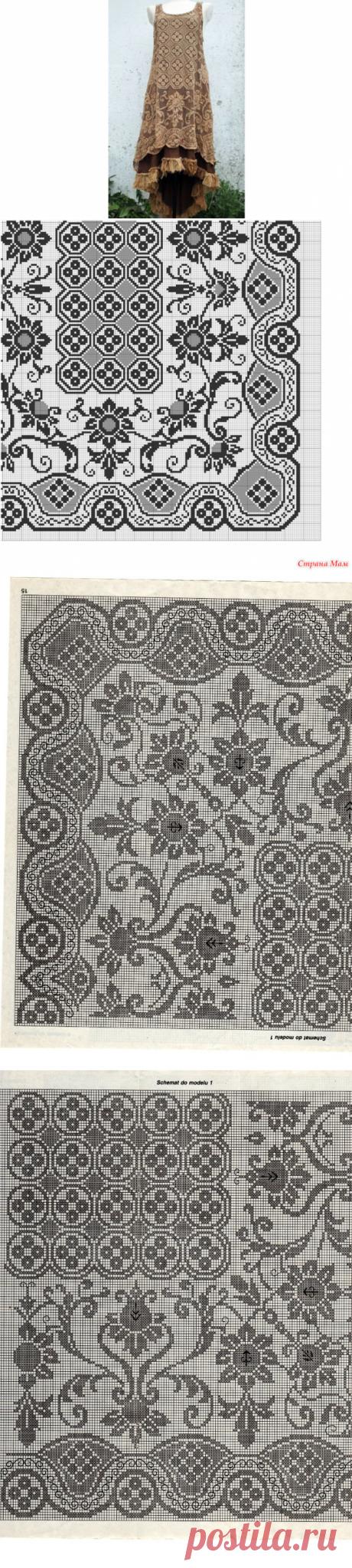 Филейное платье схема вязания