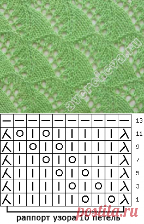 узор 82 | каталог вязаных спицами узоров
