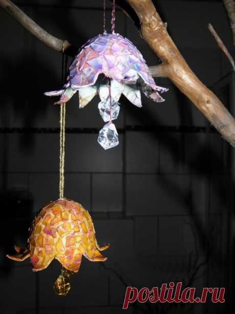 Колокольчики на новогоднюю ёлку из яичной скорлупы