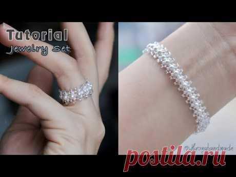 Wedding jewelry DIY. Ring & bracelet. How to make beaded jewelry