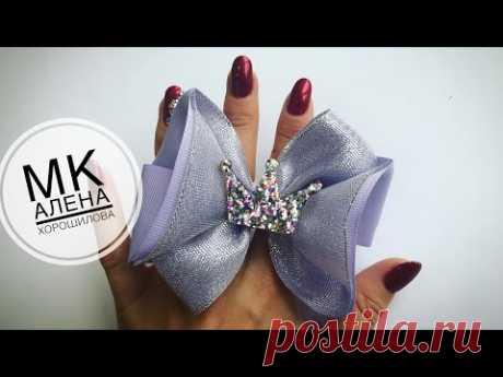 Simple bantiki de las cintas por las manos MK Kanzashi Alena Horoshilova tutorial ribbon bows kanzashi diy