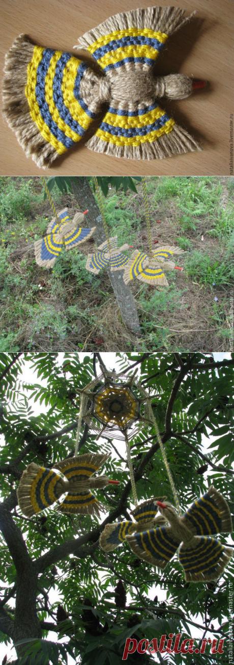Подвеска «Птица счастья» из джутового шпагата и разноцветных нитей. Мастер-класс