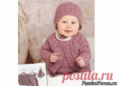 Кардиган, комбинезон, шапочка для малышки