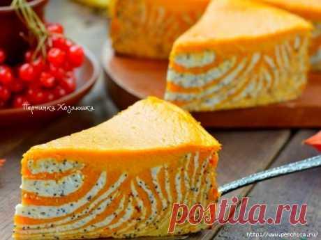 Мраморный кекс *Зебра* из тыквы и творога