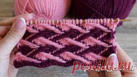 Двухцветный узор со снятыми петлями – Ленивый жаккард «Плетенка»