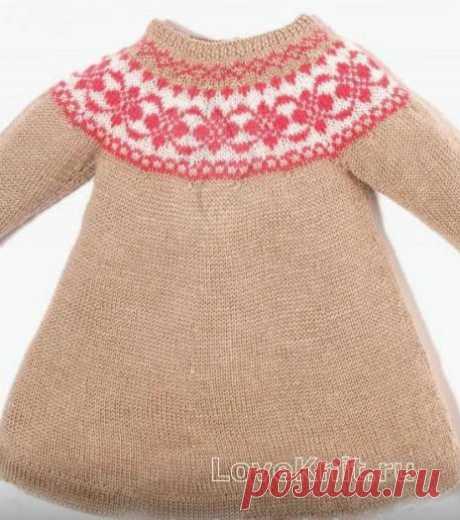 Жаккардовое платье для девочки схема » Люблю Вязать