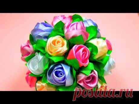 Мастер-класс: Бутоны Роз в Букет-Шар. / Ribbon Rose, Bouquet-Ball / ✿ NataliDoma