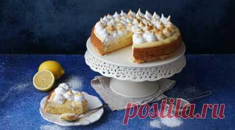 Лимонный пирог с итальянской меренгой, пошаговый рецепт с фото