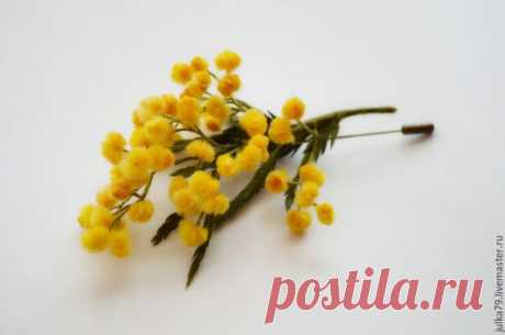 Купить Мимоза - желтый, мимоза, цветы из шерсти, цветы, броши, брошь мимоза, брошь цветок