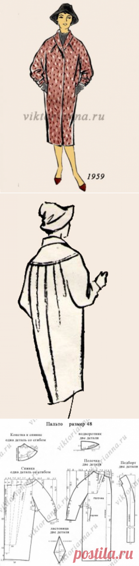 El abrigo el capullo con tselnokroenym por la manga: el patrón para la costura gratis