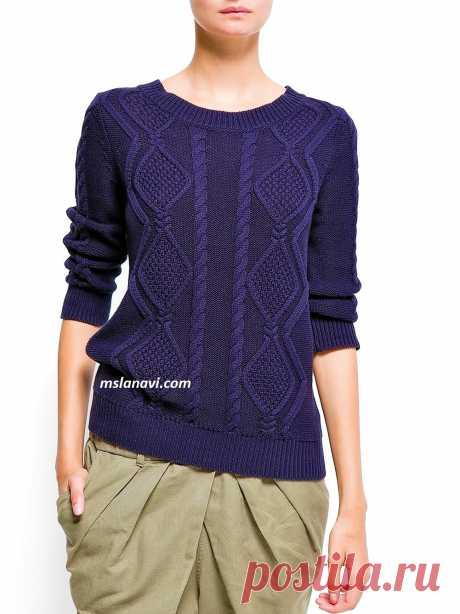 Вязаный свитер с ромбовидными аранами | Вяжем с Лана Ви