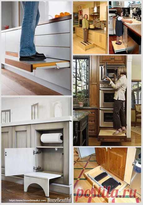 Блестящие конструкции раскладных кухонных лестниц — Идеи домашнего мастера