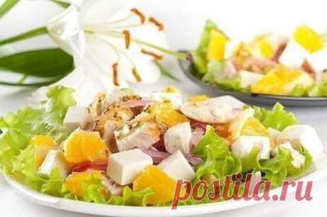 Как приготовить салат с апельсинами, куриным филе и сыром фета - рецепт, ингредиенты и фотографии