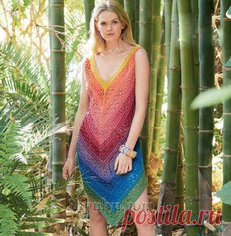 Летнее радужное платье на бретелях спицами — Shpulya.com - схемы с описанием для вязания спицами и крючком