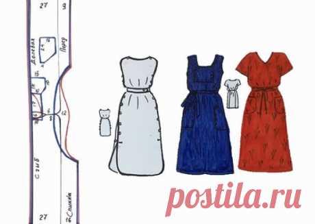 Одна схема - множество вариантов для дома, для дачи Просто построить, легко сшить. Летом так мало времени, чтобы сшить что-то новое Мы предлагаем простую схему, по которой можно сшить бесконечное число вариантов платьев, платьев-фартуков, сарафанов, туник для дома, для дачи, для пляжа Для подобных моделей лучше выбрать натуральные, хлопковые или льняные ткани Первый вариант: это платье состоящее из двух отдельных половинок, окантованных однотонной или контрастной бейкой. Спинка и пере