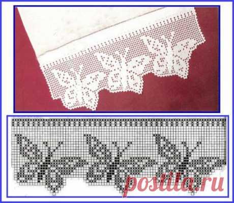 Кайма крючком филейное вязание — очень красиво + схемы | razpetelka.ru