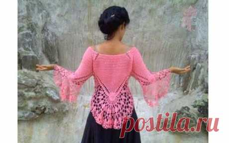 Розовая орхидея. Ажурный пуловер необычного кроя. из категории Интересные идеи – Вязаные идеи, идеи для вязания