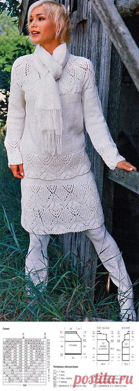 Ажурный пуловер и юбка спицами — прекрасный костюм