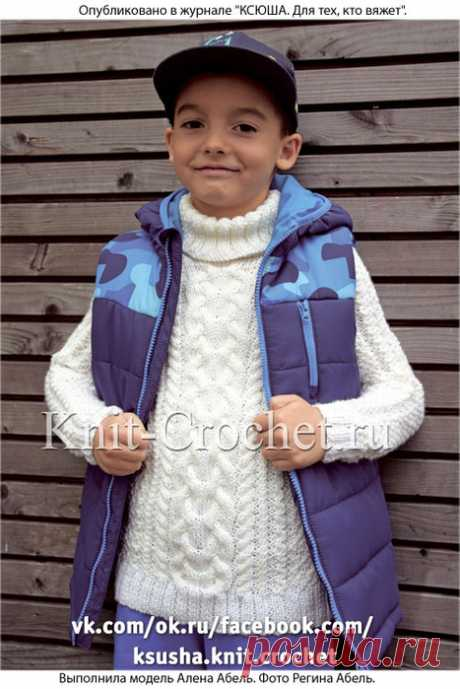 Вязание спицами. Свитер для мальчика с аранами.