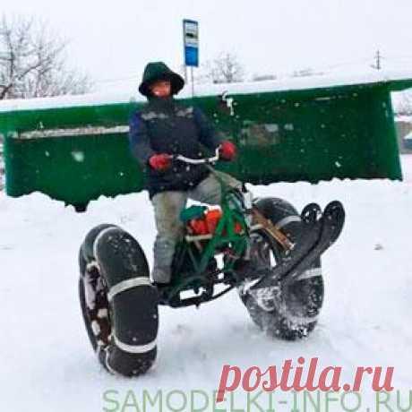 """Самодельный снегоход из бензопилы (33 фото) Снегоход с двигателем от бензопилы """"Урал"""", от парней канала «KREOSAN»: пошаговые фото и описание постройки снегохода своими руками."""