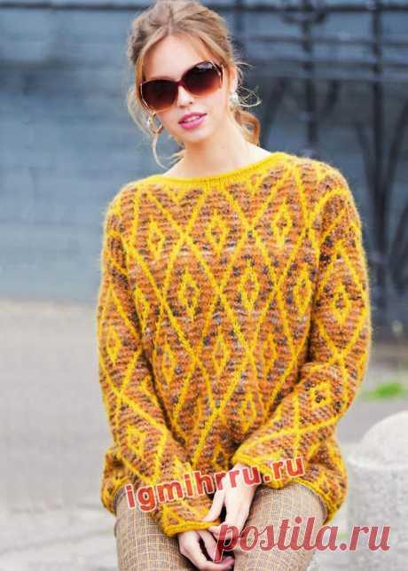 Пуловер с жаккардовыми ромбами. Вязание спицами со схемами и описанием