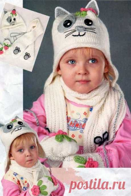 """Knitted children's caps, hats, berets, kerchiefs and scarfs knitted hook and spokes.\"""" Page 11"""