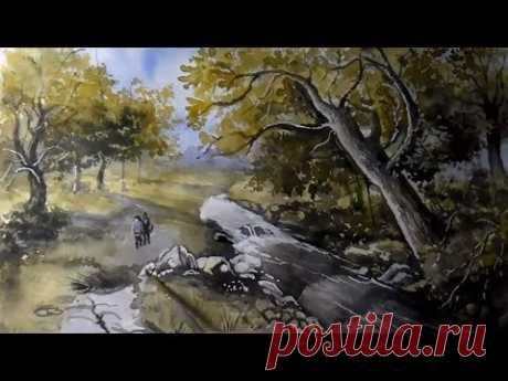 Как нарисовать летний пейзаж в старинном стиле акварелью и гуашью