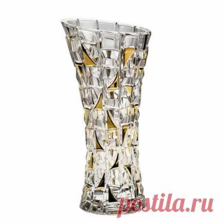 """Хрустальная Ваза """"Patriot Gold"""" (Патриот Голд) 33 см. Crystal Bohemia купить в Москве +7 (495) 105-51-56"""