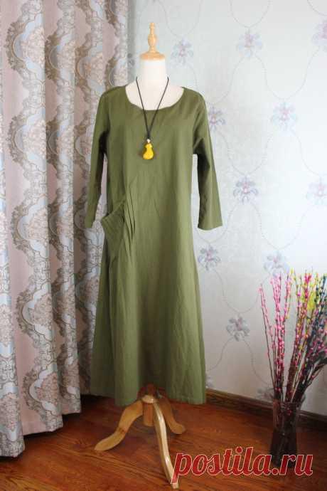 Linen midi Dress olive green Dresses Linen Kaftan Women   Etsy