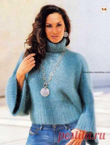 Пуловер с широким рукавом Пуловер с широким рукавом спицами. Мохеровый короткий женский пуловер 2019