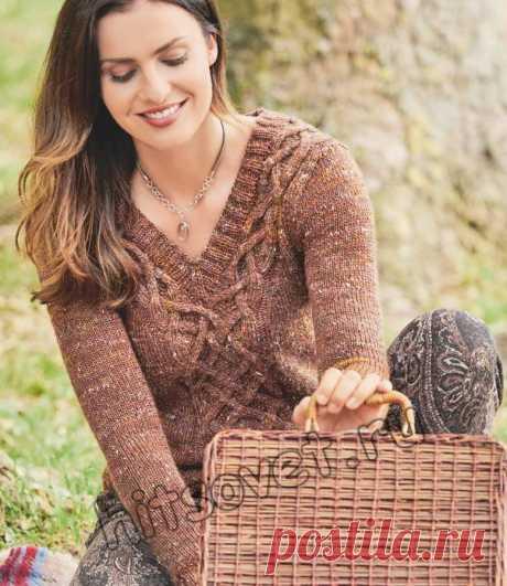 Стильный твидовый пуловер с косами - Хитсовет