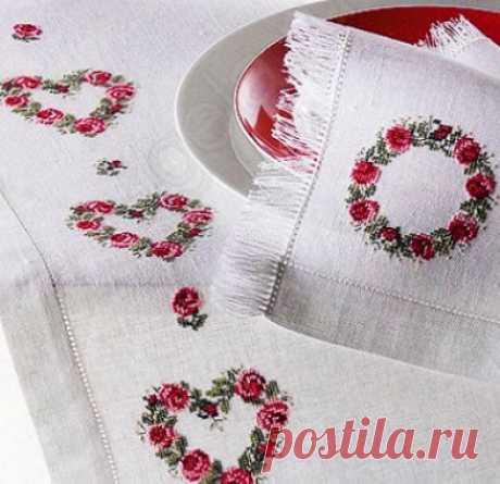 Просто и красиво — схема для вышивки скатерти розами - Домоводство - медиаплатформа МирТесен
