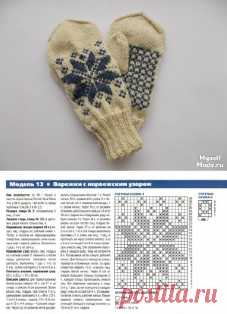Mittens with the Norwegian pattern, the description from the magazine