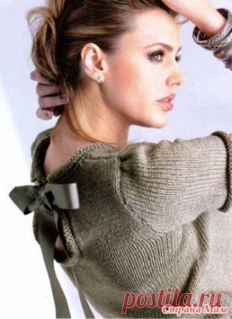 Пуловер с атласным бантом. Итак, всем здравствуйте! Начинаем он-лайн вязание пуловера с атласным бантом. Опрос проходил тут https://www.stranamam.ru/ всего проголосовало 159 человек.  Описание модели:
