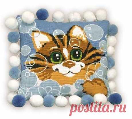 Схемы вышивки для подушки. Животные / Вышивание крестиком - схемы вышивки для начинающих, картинки / КлуКлу. Рукоделие - бисероплетение, квиллинг, вышивка крестом, вязание