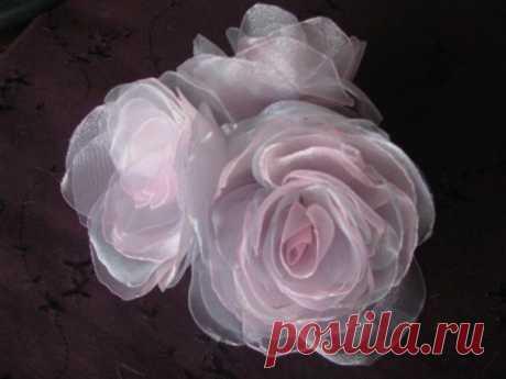 Мини-мастер класс по изготовлению розы из органзы / Прочие виды рукоделия / Цветы из ткани